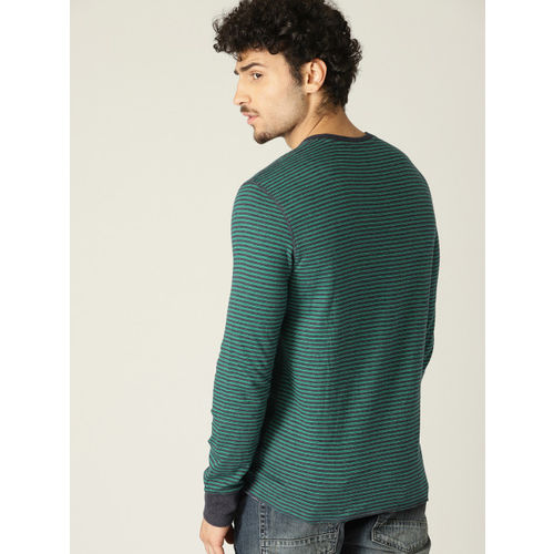 United Colors of Benetton Men Green & Navy Blue Striped Henley Neck T-shirt