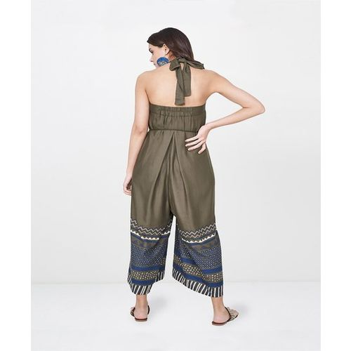 Global Desi Olive Printed Jumpsuit