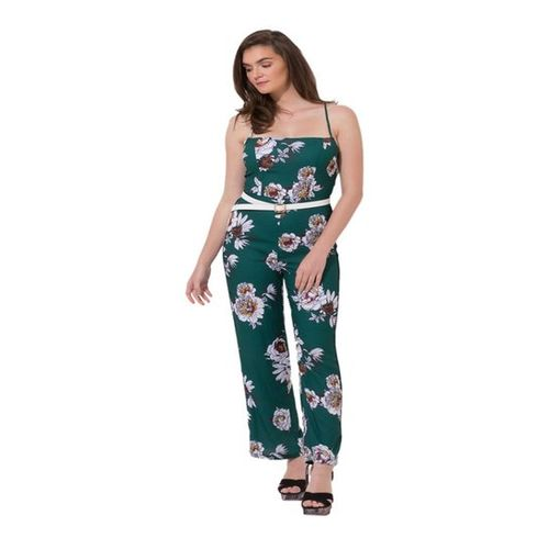 Kazo Teal Floral Print Maxi Jumpsuit