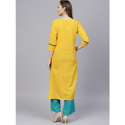 Jaipur Kurti Women Yellow & Green Yoke Design Kurta with Palazzos