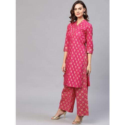 Jaipur Kurti Women Pink Printed Kurta with Palazzos