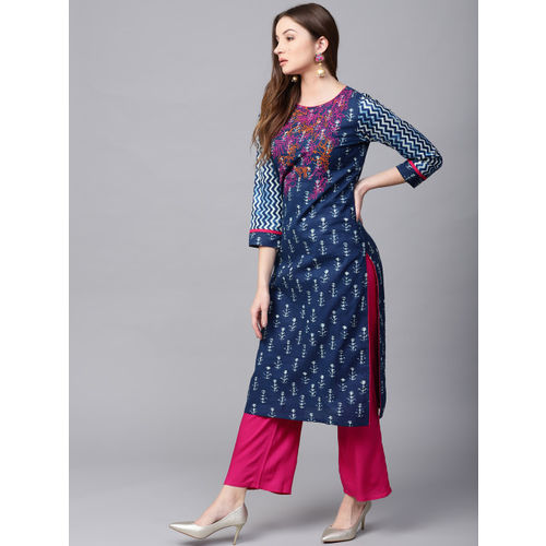 Jaipur Kurti Women Blue & Pink Printed Kurta with Palazzos
