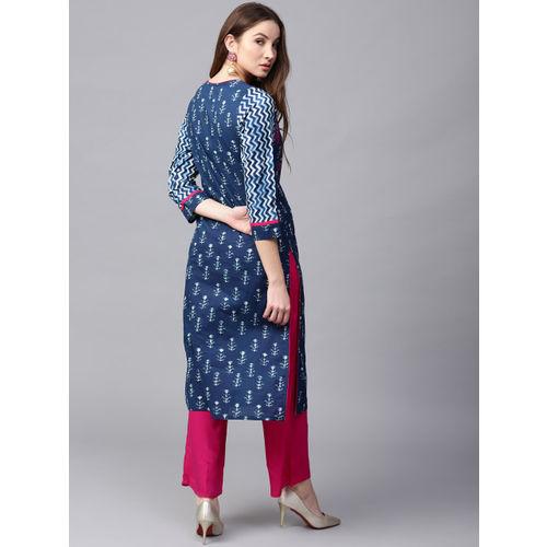 Jaipur Kurti Women Blue & Pink Printed Kurta with Palazzos