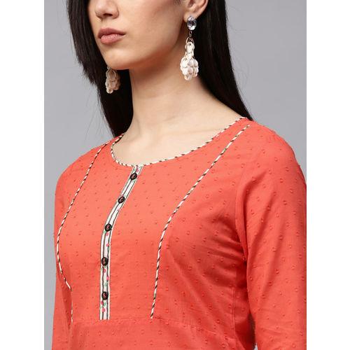 Jaipur Kurti Women Coral Orange & White Kurta with Palazzos