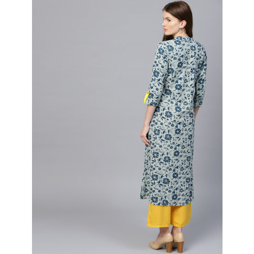 Jaipur Kurti Women Blue & Yellow Printed Kurta with Palazzos