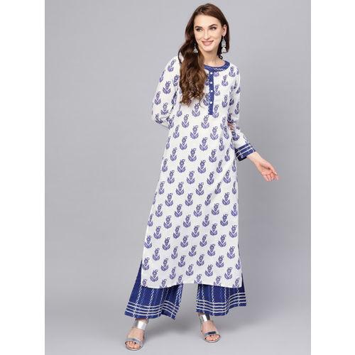 Jaipur Kurti Women White & Blue Printed Kurta with Palazzos