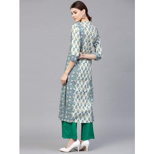 Jaipur Kurti Women Blue & Green Printed Kurta with Palazzos