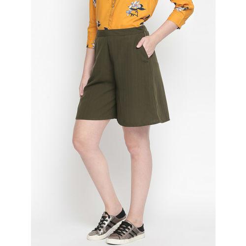 Honey by Pantaloons Women Olive Green Self Design Regular Fit Regular Shorts