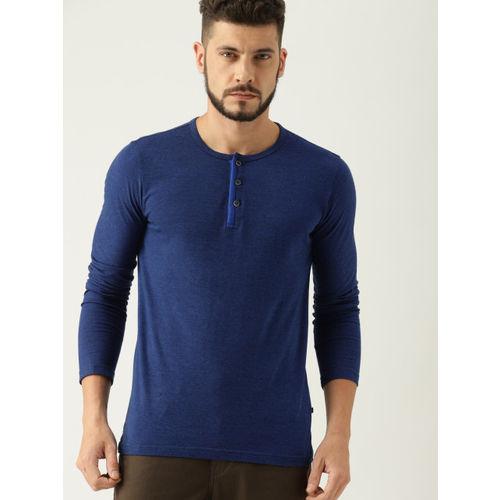 United Colors of Benetton Men Navy Blue Solid Henley Neck T-shirt