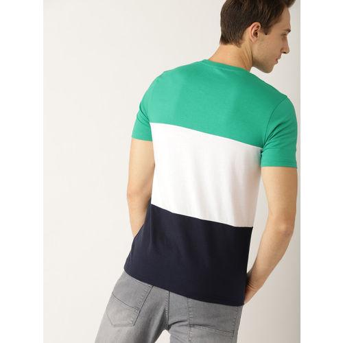 United Colors of Benetton Men Green & White Colourblocked Round Neck T-shirt