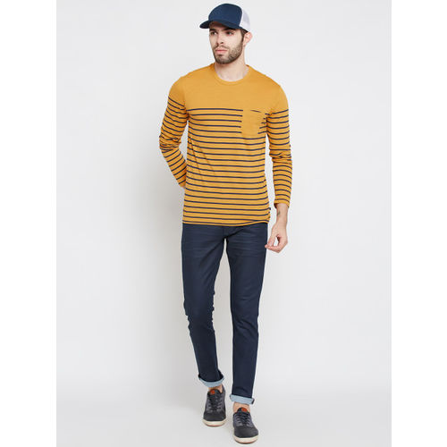 United Colors of Benetton Men Mustard Yellow Striped Round Neck T-shirt