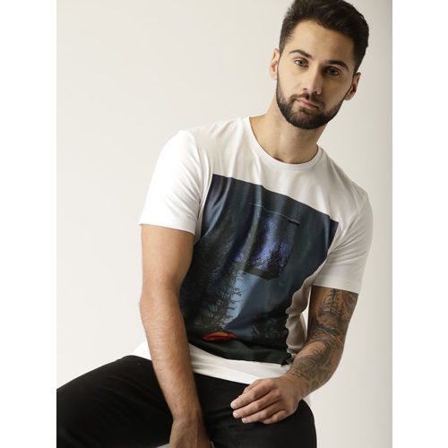 United Colors of Benetton Men White Printed Round Neck T-shirt