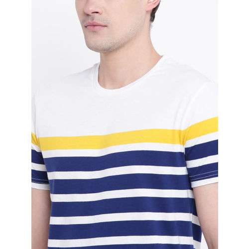 United Colors of Benetton Men White & Navy Blue Striped Round Neck T-shirt