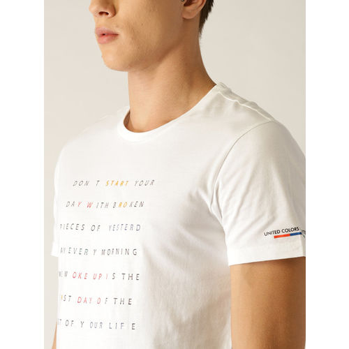 United Colors of Benetton Men White Dyed Round Neck T-shirt