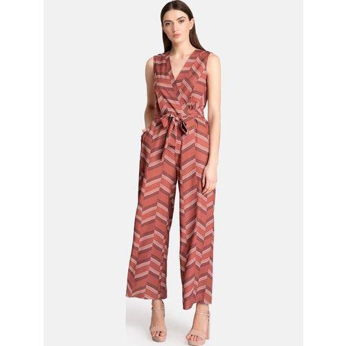 Kazo Rust Striped Jumpsuit