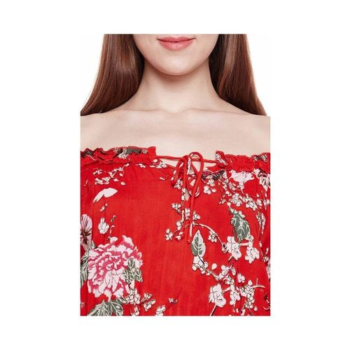 Oxolloxo Red Floral Print Joana Cold Shoulder Playsuit