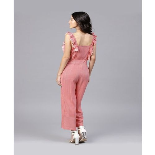 Street 9 Red & White Striped Jumpsuit