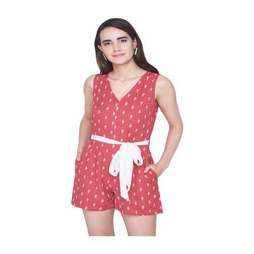 Global Desi Red Floral Print Playsuit