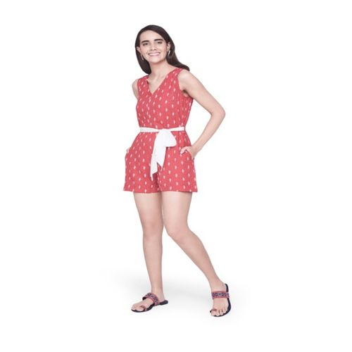 Global Desi Red Floral Print Playsuit
