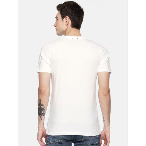 Jack & Jones Men White Printed Round Neck Slim Fit T-shirt