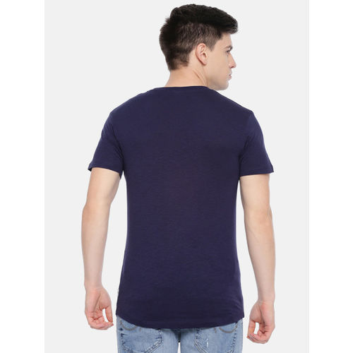 Jack & Jones Men Blue & White Striped Round Neck T-shirt