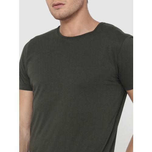 Jack & Jones Men Green Solid Round Neck T-shirt