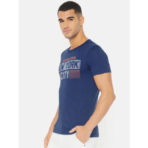 Jack & Jones Men Blue Printed Round Neck Slim Fit T-shirt