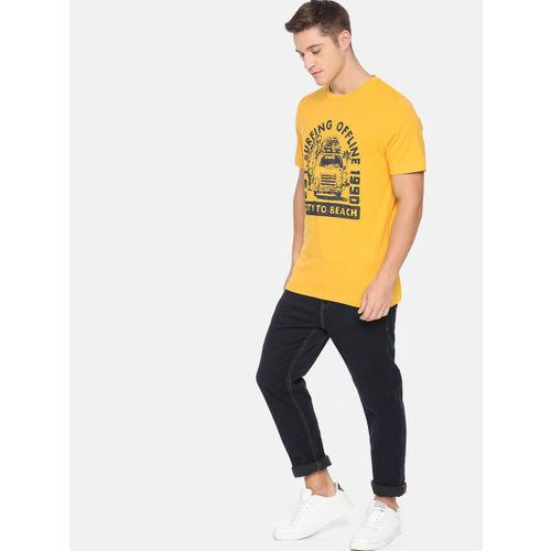 Jack & Jones Men Mustard Yellow Printed Round Neck T-shirt