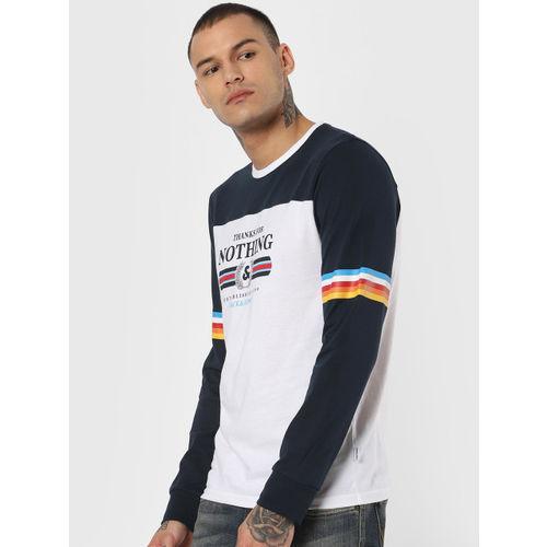 Jack & Jones Men White & Navy Blue Printed Slim Fit Round Neck T-shirt