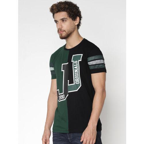 Jack & Jones Men Green & Black Printed Round Neck T-shirt
