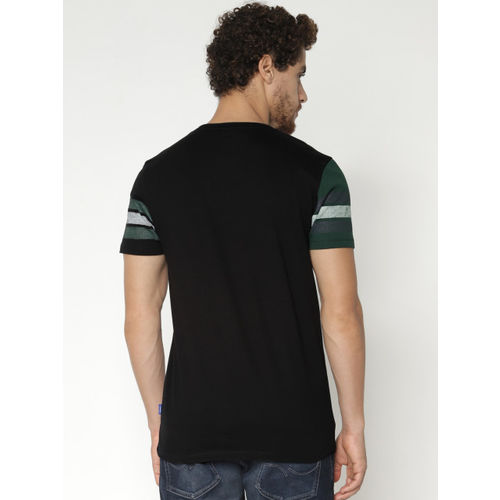 Jack & Jones Men Green & Black Printed Round Neck T-shirt