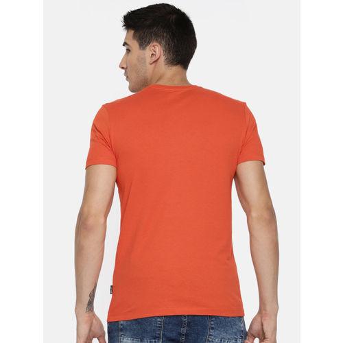 Jack & Jones Men Orange Printed Round Neck Slim Fit T-shirt