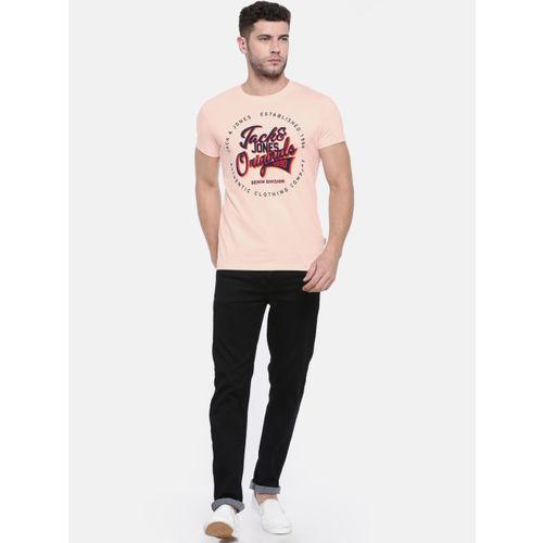 Jack & Jones Men Pink Printed Round Neck T-shirt