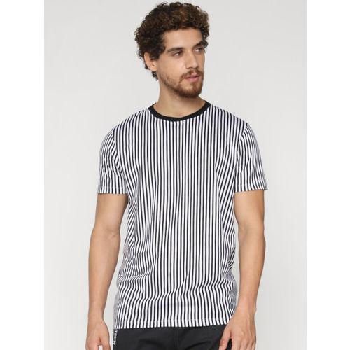 Jack & Jones Men White & Black Striped Round Neck T-shirt