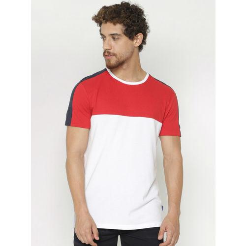 Jack & Jones Men Red & White Colourblocked Round Neck T-shirt