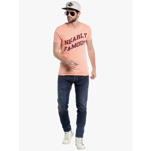 Jack & Jones Peach Printed Slim Fit Round Neck T-Shirt