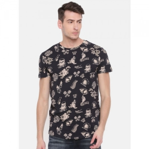 Jack & Jones Men Black Printed Round Neck T-shirt