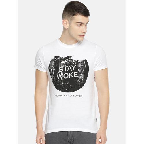 Jack & Jones Men White Solid Round Neck T-shirt