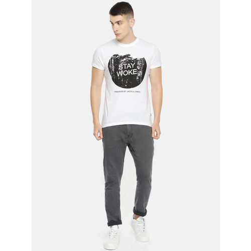 Jack & Jones Men White Solid Round Neck T-shirt