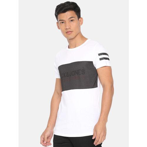 Jack & Jones Men White & Black Printed Round Neck T-shirt