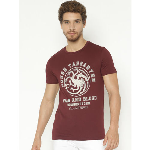 Jack & Jones Men Maroon Printed Slim Fit Round Neck Game of Thrones T-shirt