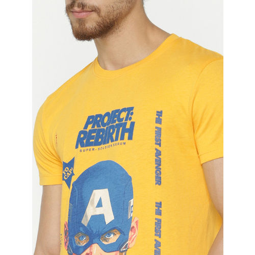 Jack & Jones Men Yellow Printed Round Neck Avengers Endgame Captain America T-shirt