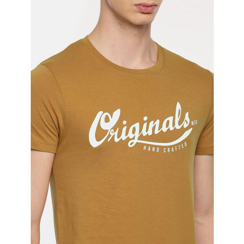 Jack & Jones Men Brown Printed Slim Fit Round Neck T-shirt