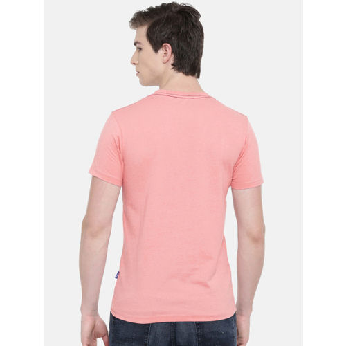 Jack & Jones Men Pink Printed Round Neck T-shirt