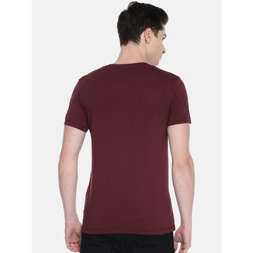 Jack & Jones Men Maroon Printed Round Neck T-shirt