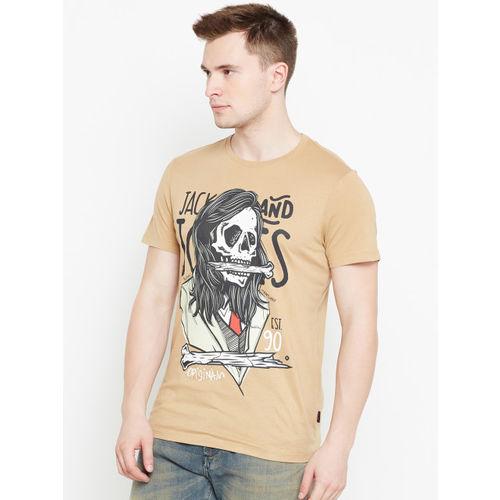Jack & Jones Men Beige Printed Round Neck T-shirt
