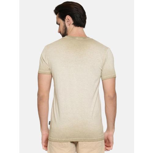 Jack & Jones Men Khaki Printed Round Neck T-shirt