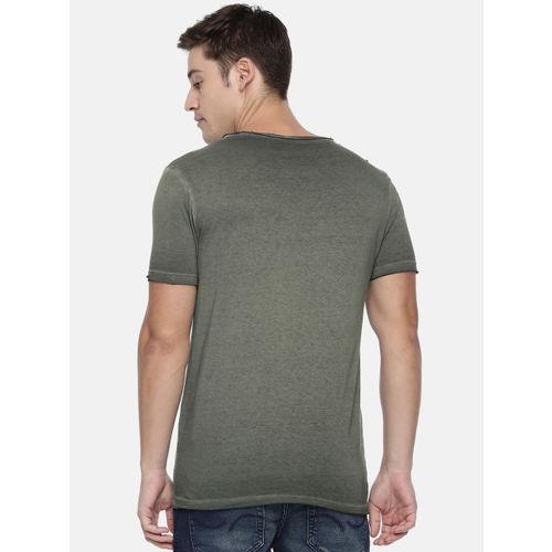 Jack & Jones Men Olive Green Dyed Slim Fit Round Neck T-shirt