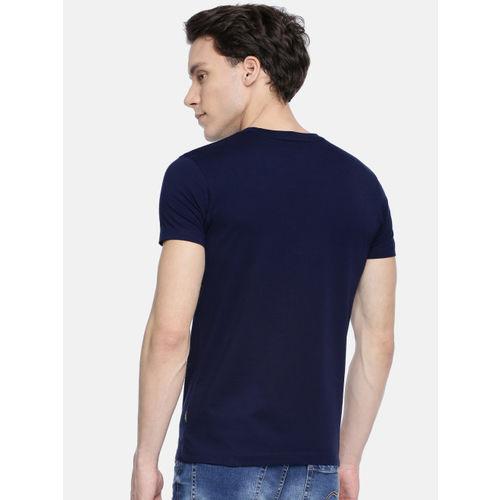 Jack & Jones Men Navy Blue Printed Round Neck T-shirt