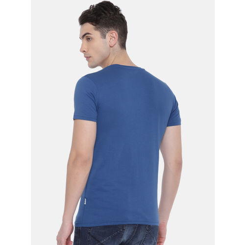 Jack & Jones Men Blue Slim Fit Printed Round Neck T-shirt